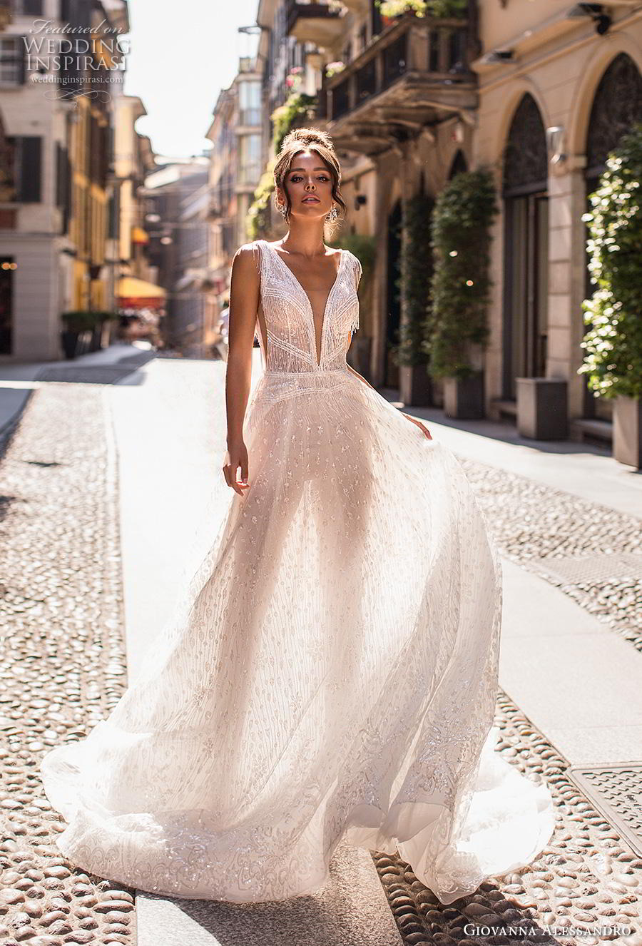 giovanna alessandro 2019 bridal sleeveless fringe strap deep v neck full embellishment open side romantic soft a  line wedding dress v back chapel train (8) mv