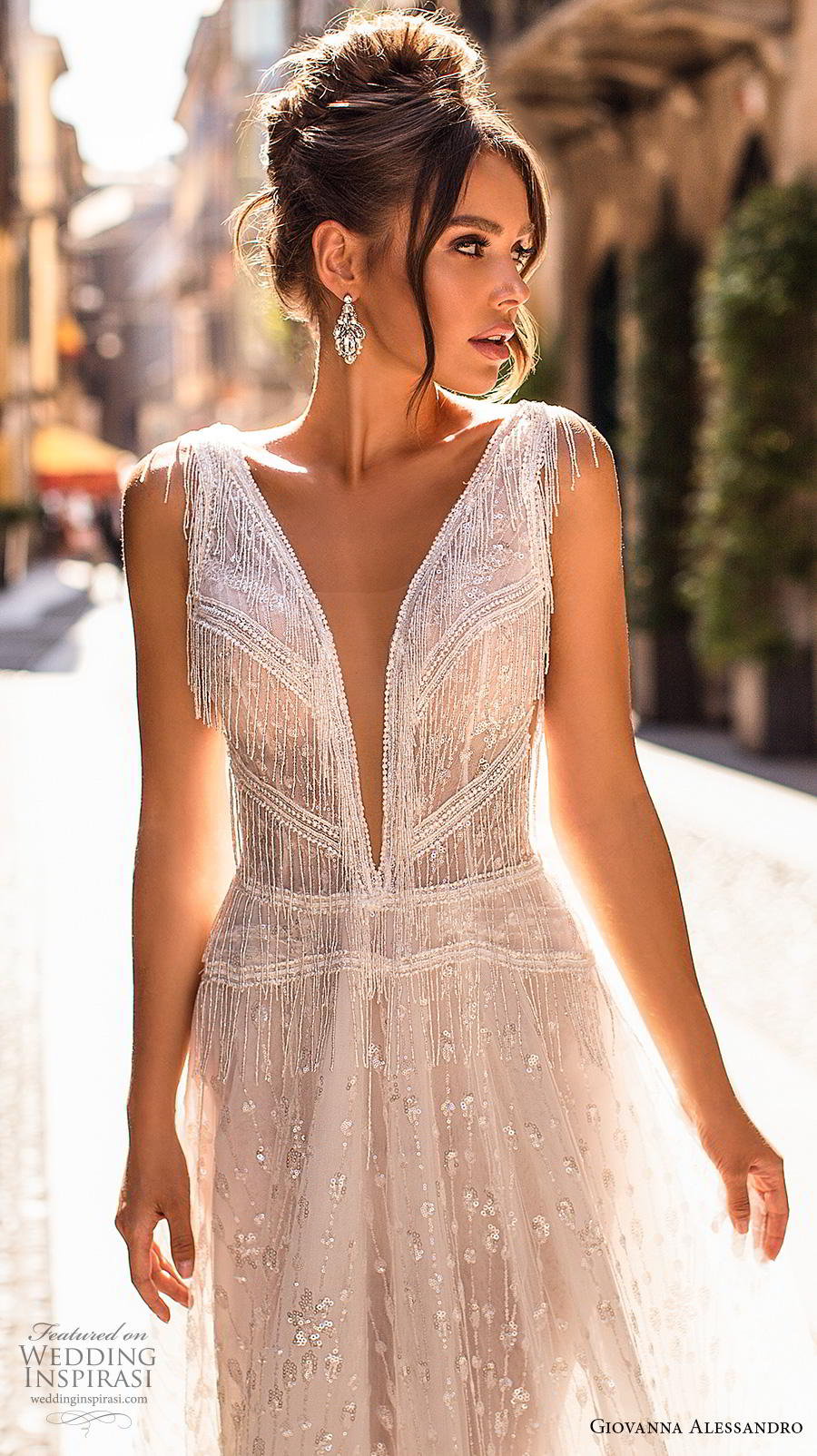 giovanna alessandro 2019 bridal sleeveless fringe strap deep v neck full embellishment open side romantic soft a  line wedding dress v back chapel train (8) zv