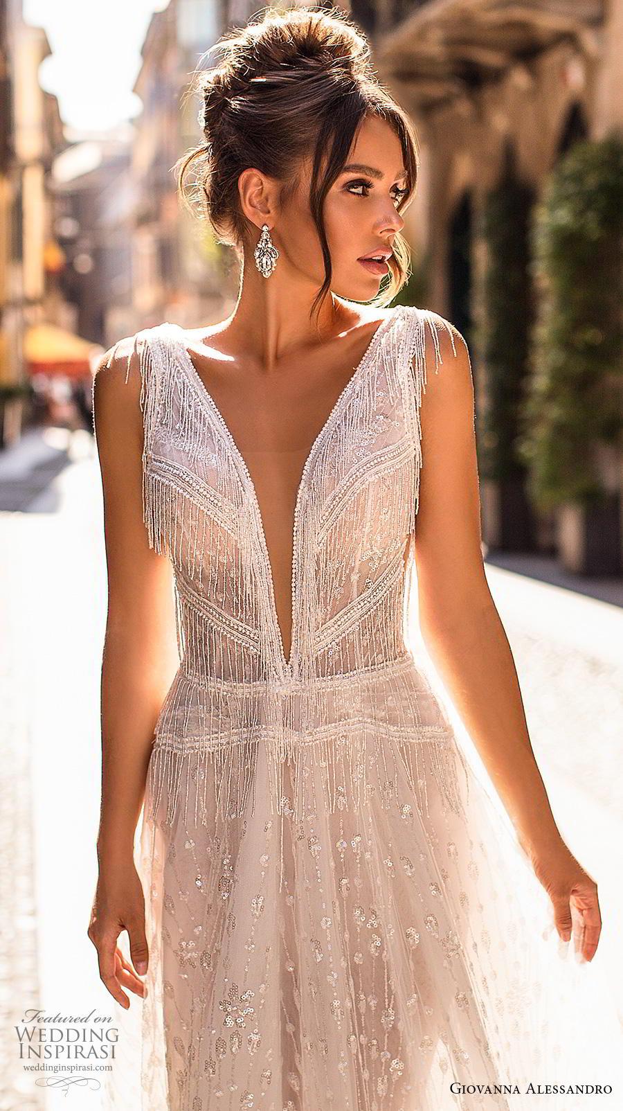 giovanna alessandro 2019 bridal sleeveless fringe strap deep v neck full embellishment open side romantic soft a  line wedding dress v back chapel train (8) zv