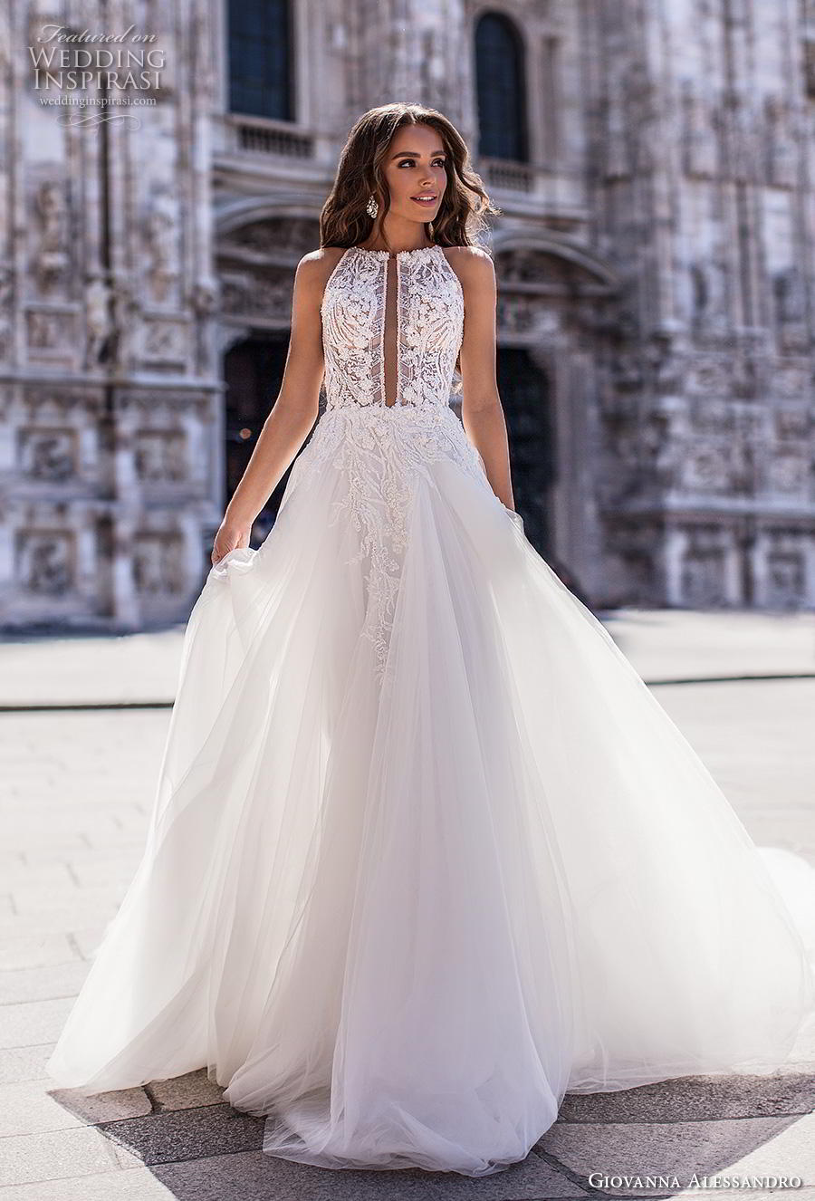 giovanna alessandro 2019 bridal sleeveless halter neck heavily embellished bodice tulle skirt romantic soft a  line wedding dress keyhole back chapel train (12) mv