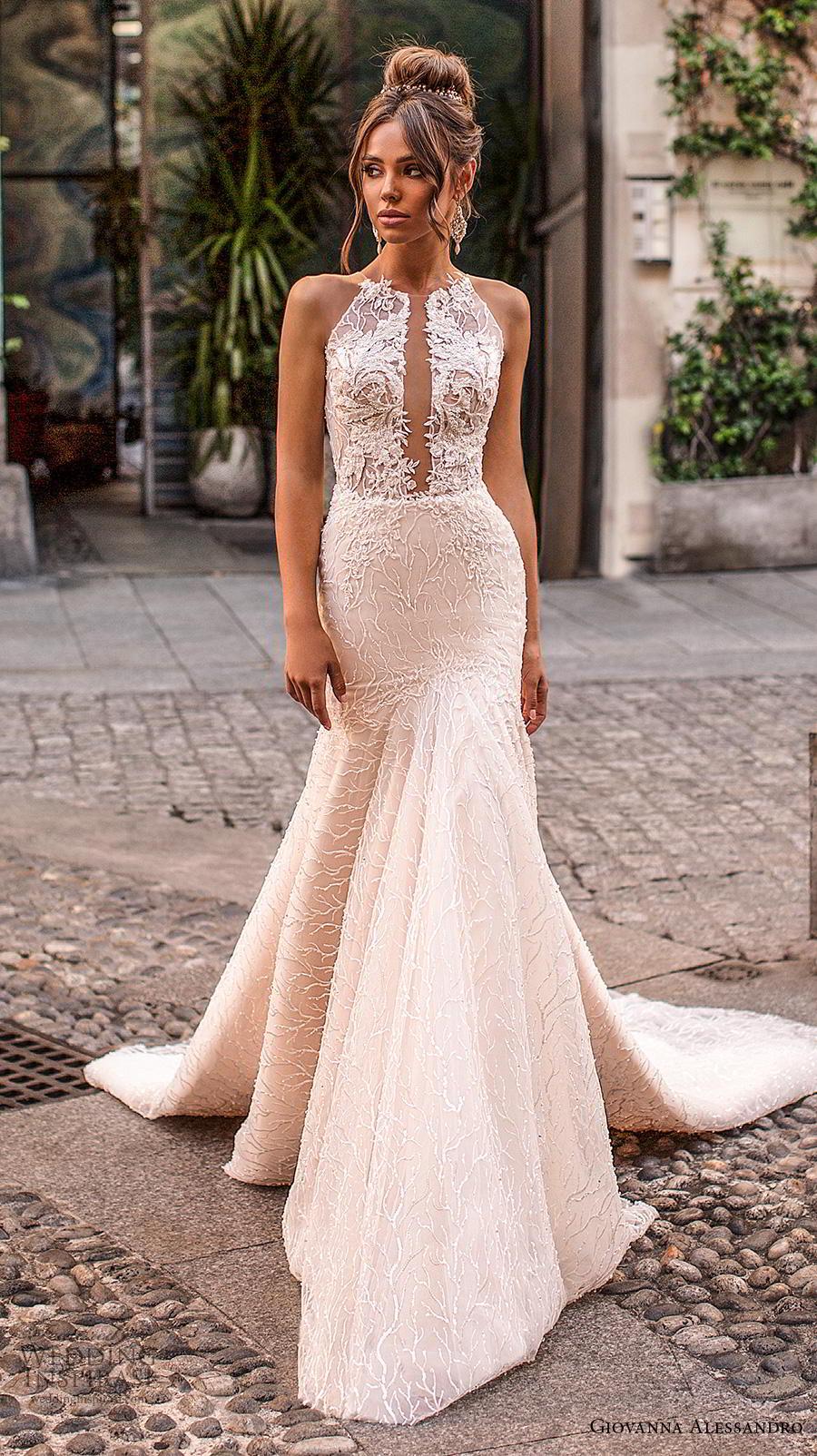 giovanna alessandro 2019 bridal sleeveless halter neck heavily full embellishment elegant sexy champagne trumpet wedding dress keyhole back chapel train (10) mv