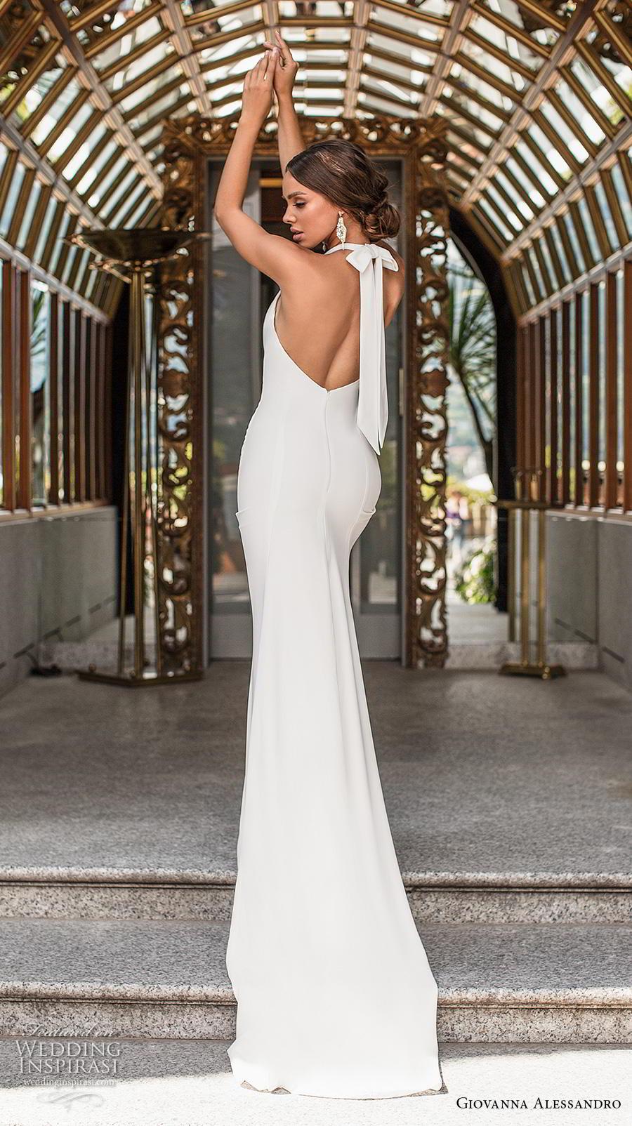 giovanna alessandro 2019 bridal sleeveless halter neck simple minimalist elegant sheath wedding dress backless chapel train (6) bv
