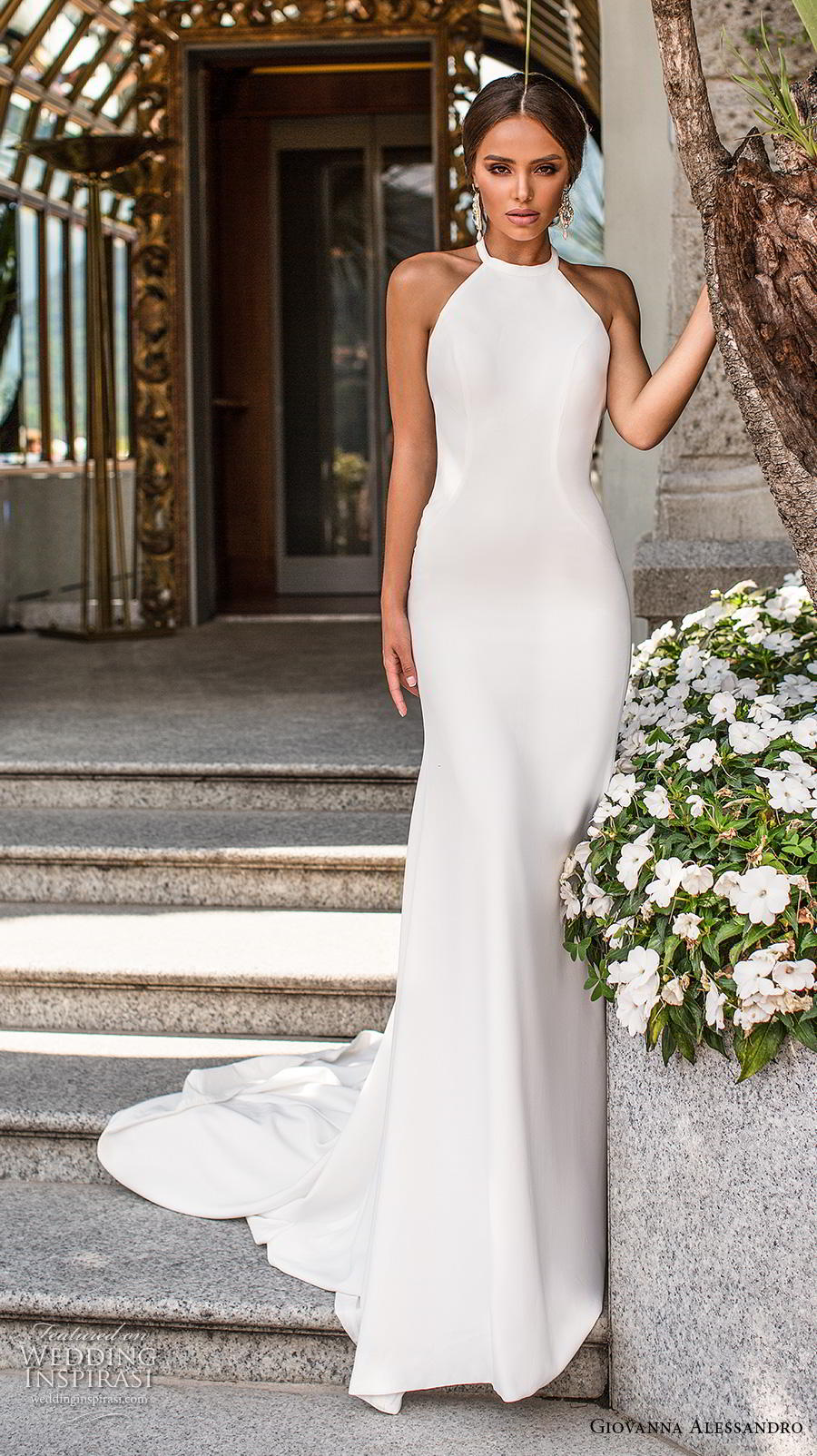 giovanna alessandro 2019 bridal sleeveless halter neck simple minimalist elegant sheath wedding dress backless chapel train (6) mv