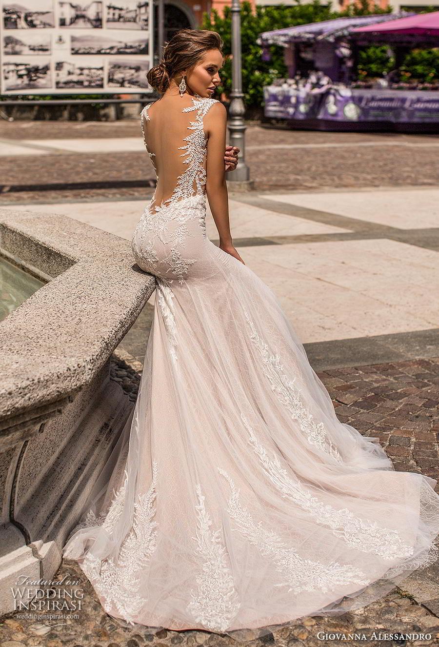 giovanna alessandro 2019 bridal sleeveless illusion bateau sweetheart neckline heavily embellished bodice elegant fit and flare wedding dress backless low back chapel train (16) bv