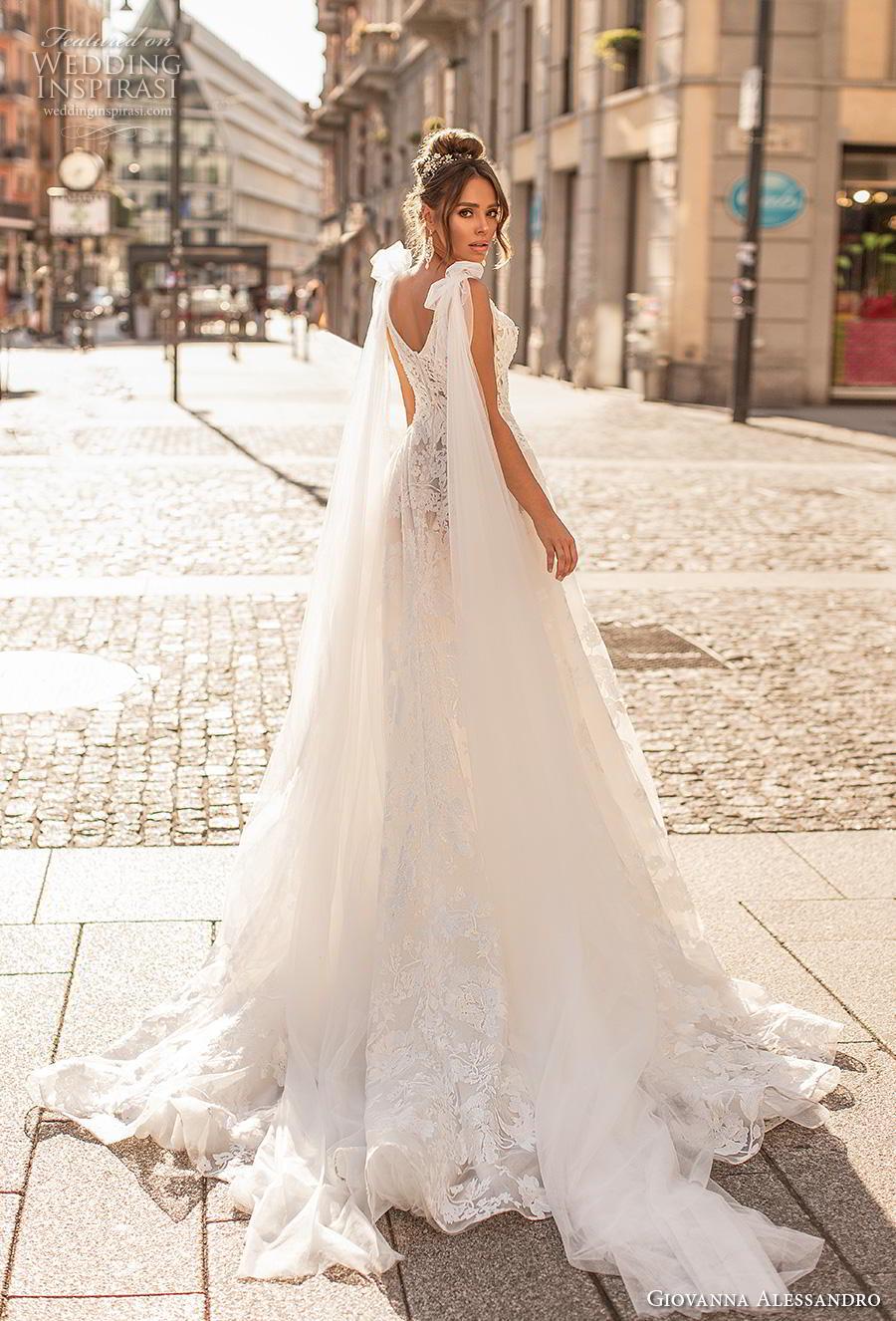 giovanna alessandro 2019 bridal sleeveless ribbon strap deep plunging v neck full embellishment romantic sexy soft a  line wedding dress mid back chapel train (3) bv
