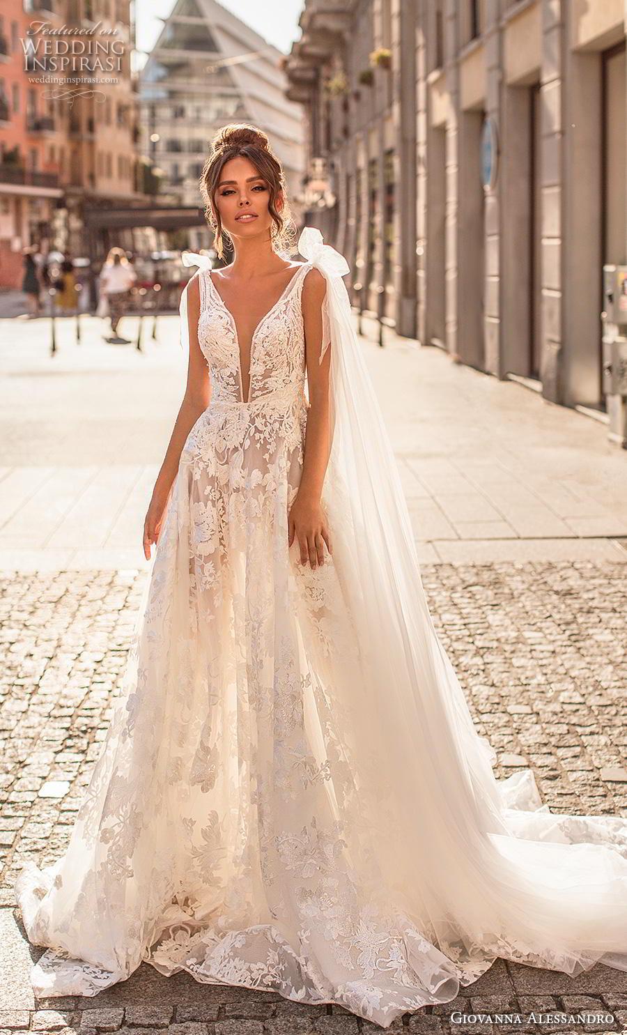giovanna alessandro 2019 bridal sleeveless ribbon strap deep plunging v neck full embellishment romantic sexy soft a  line wedding dress mid back chapel train (3) mv