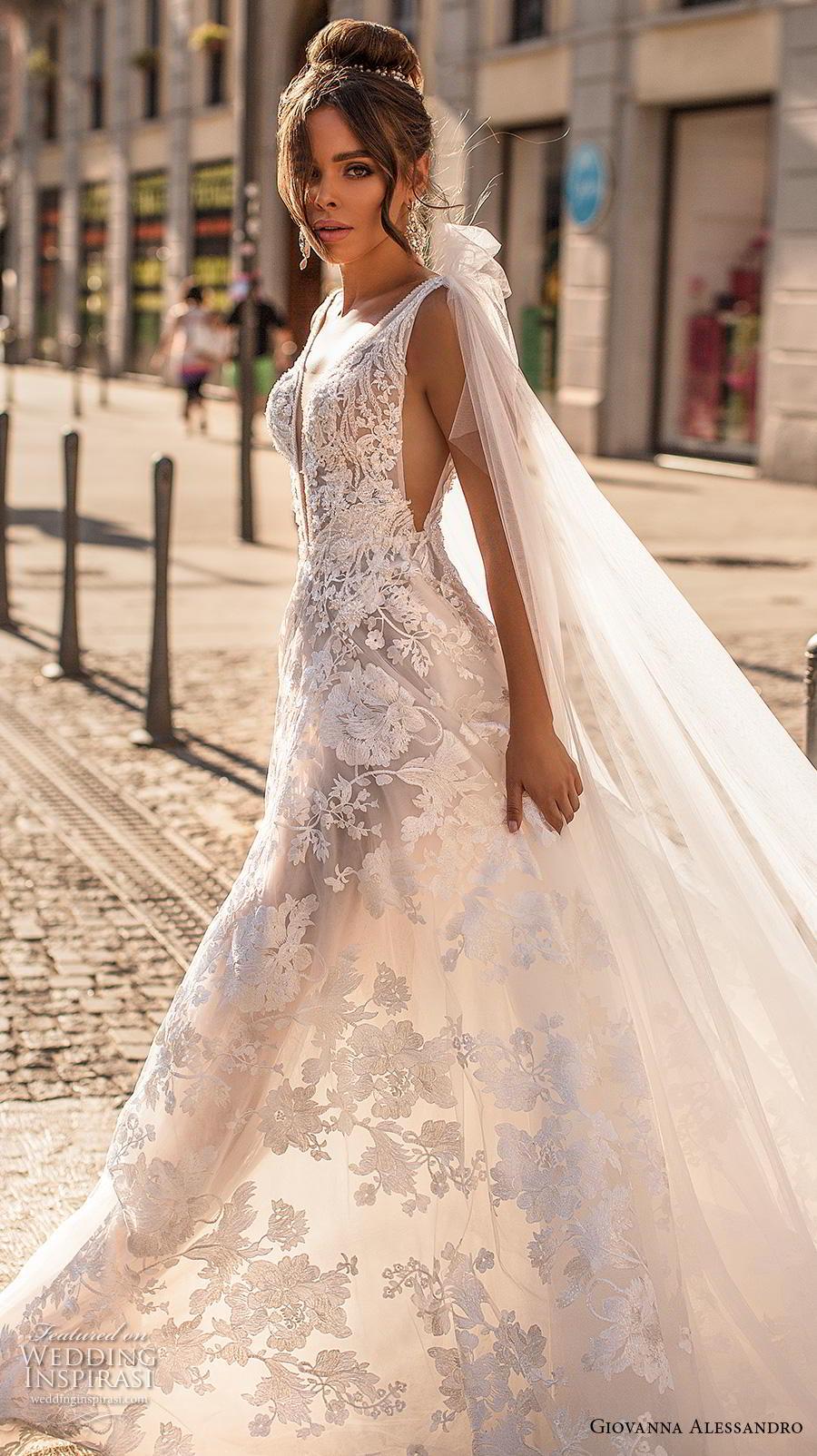 giovanna alessandro 2019 bridal sleeveless ribbon strap deep plunging v neck full embellishment romantic sexy soft a  line wedding dress mid back chapel train (3) sdv
