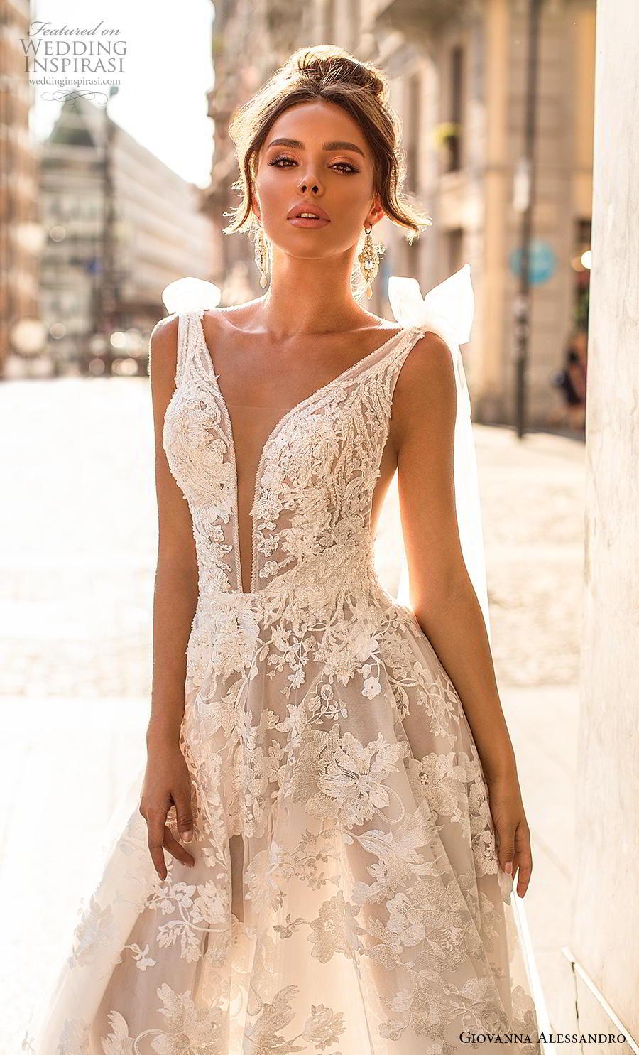 giovanna alessandro 2019 bridal sleeveless ribbon strap deep plunging v neck full embellishment romantic sexy soft a  line wedding dress mid back chapel train (3) zv
