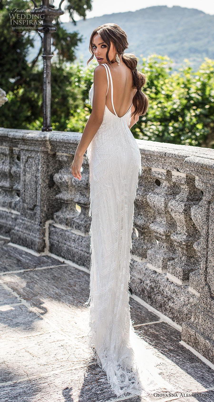giovanna alessandro 2019 bridal sleeveless v neck full embellishment fringe elegant sheath wedding dress backless v back sweep train (15) bv