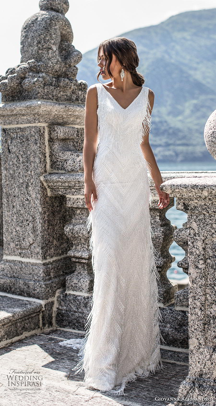 giovanna alessandro 2019 bridal sleeveless v neck full embellishment fringe elegant sheath wedding dress backless v back sweep train (15) mv