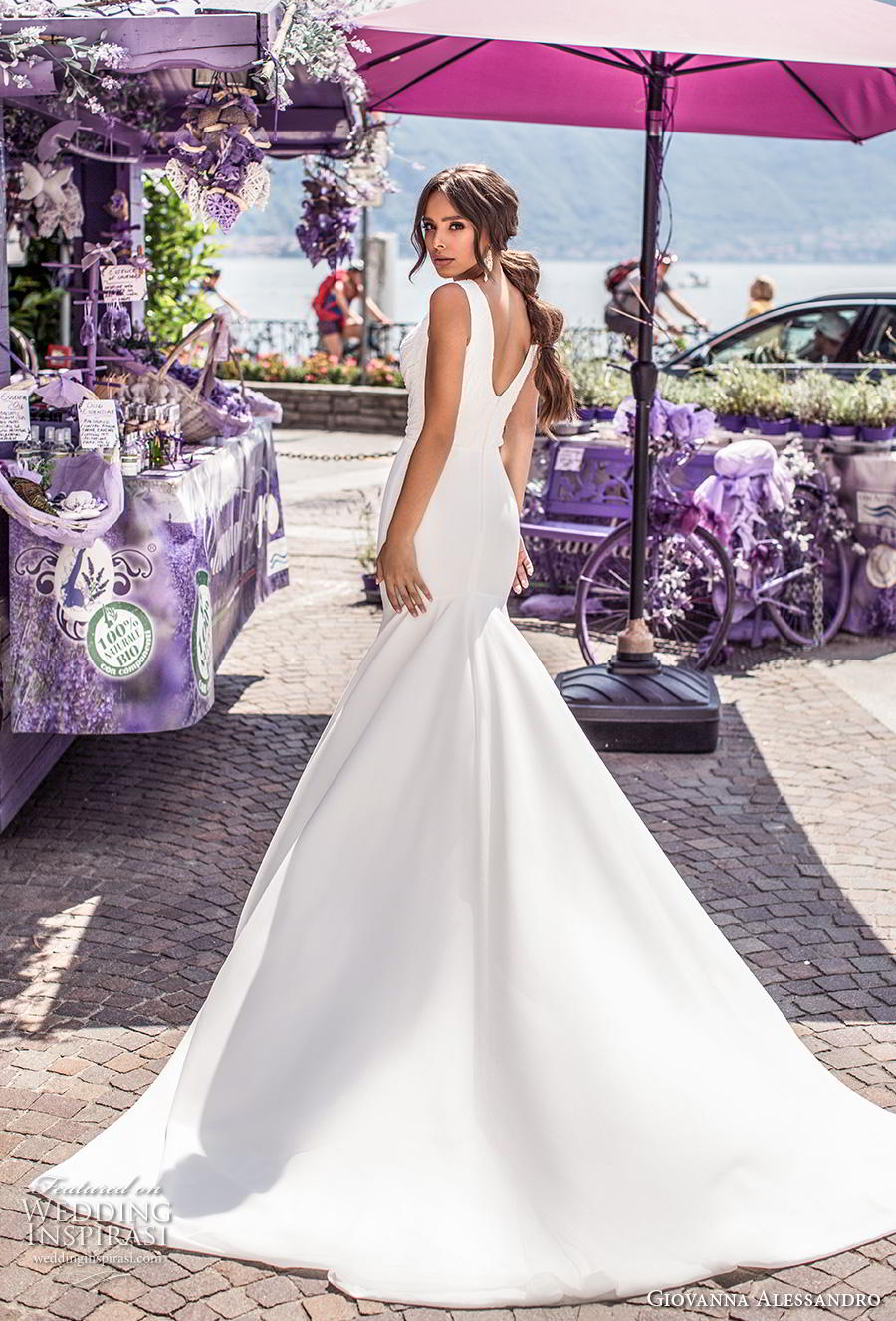 giovanna alessandro 2019 bridal sleeveless v neck wrap over heavily embellished bodice simple sheath wedding dress v back chapel train (2) bv