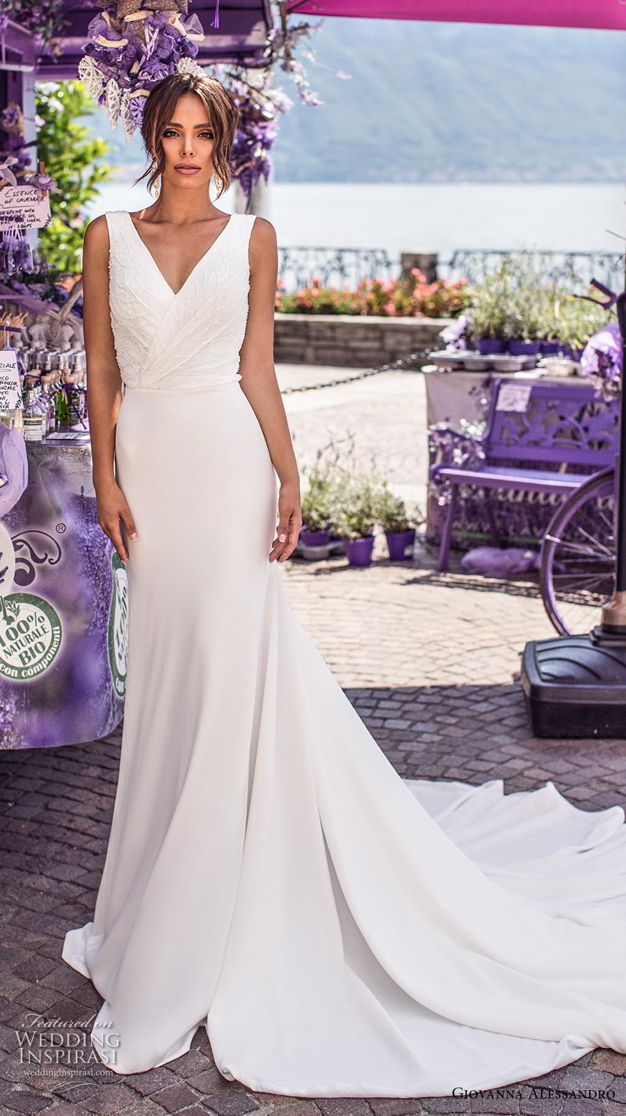 giovanna alessandro 2019 bridal sleeveless v neck wrap over heavily embellished bodice simple sheath wedding dress v back chapel train (2) mv