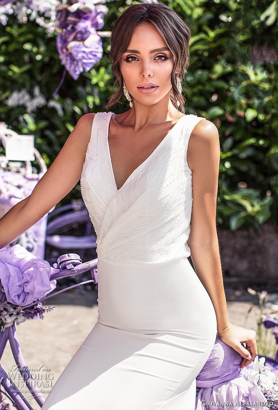 giovanna alessandro 2019 bridal sleeveless v neck wrap over heavily embellished bodice simple sheath wedding dress v back chapel train (2) zv
