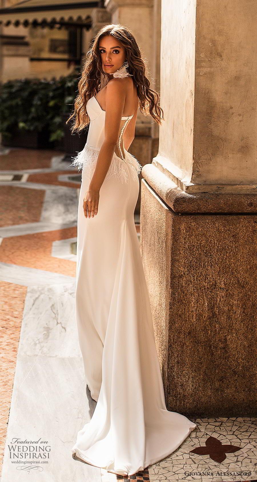 giovanna alessandro 2019 bridal strapless sweetheart neckline bustier bodice simple minimalist fringe waist elegant sheath wedding dress short train (12) bv
