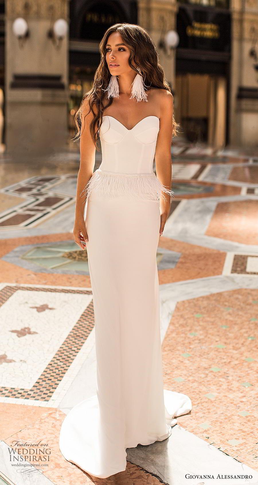giovanna alessandro 2019 bridal strapless sweetheart neckline bustier bodice simple minimalist fringe waist elegant sheath wedding dress short train (12) mv