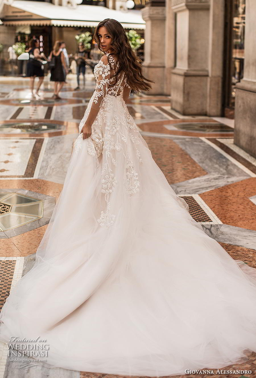 giovanna alessandro 2019 bridal three quarter sleeves sweetheart neckline heavily embellished bodice romantic a  line wedding dress lace button back chapel train (7) bv