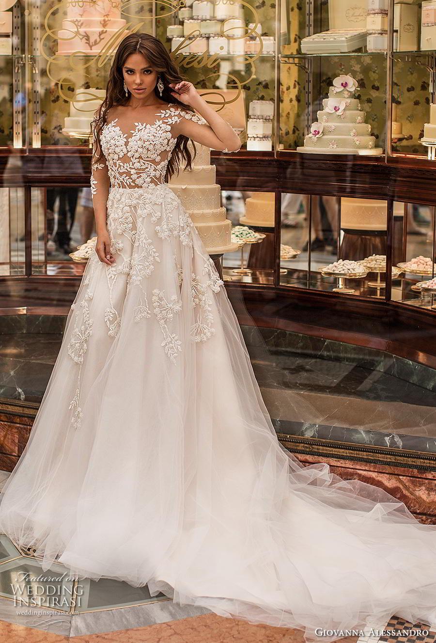 giovanna alessandro 2019 bridal three quarter sleeves sweetheart neckline heavily embellished bodice romantic a  line wedding dress lace button back chapel train (7) mv
