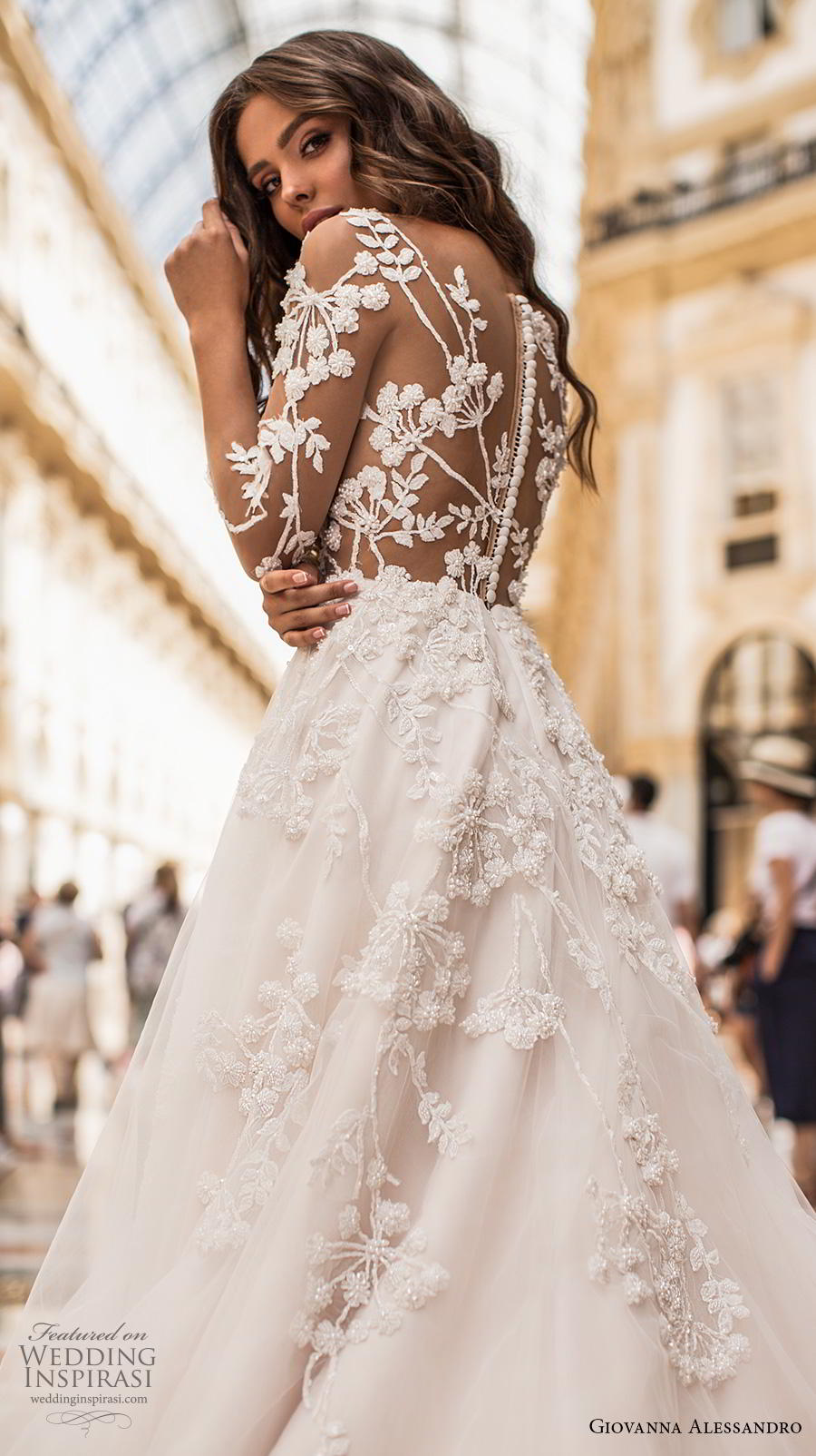 giovanna alessandro 2019 bridal three quarter sleeves sweetheart neckline heavily embellished bodice romantic a  line wedding dress lace button back chapel train (7) zbv