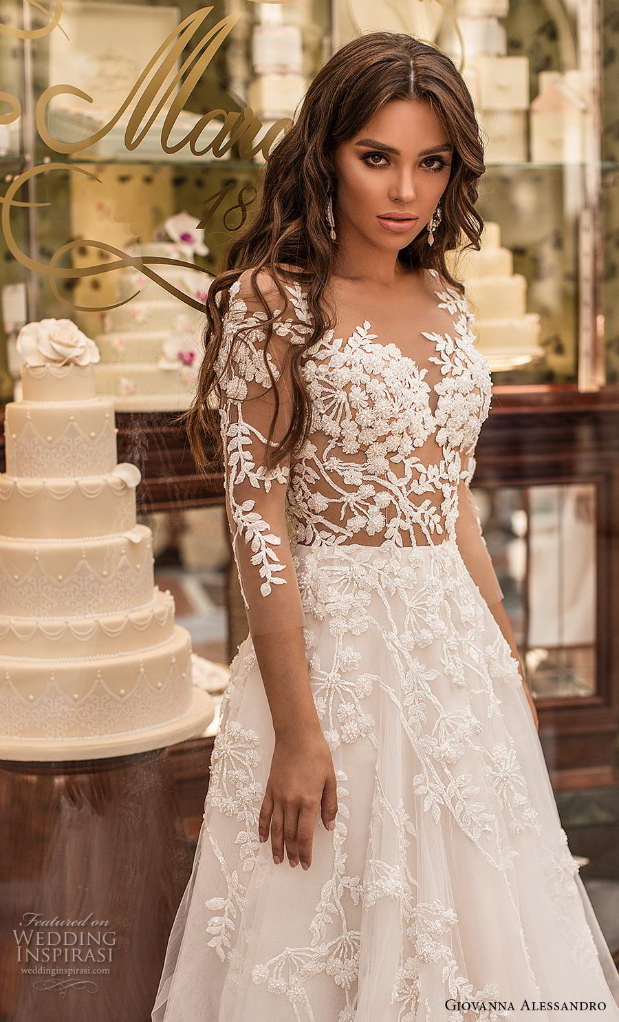 giovanna alessandro 2019 bridal three quarter sleeves sweetheart neckline heavily embellished bodice romantic a  line wedding dress lace button back chapel train (7) zv