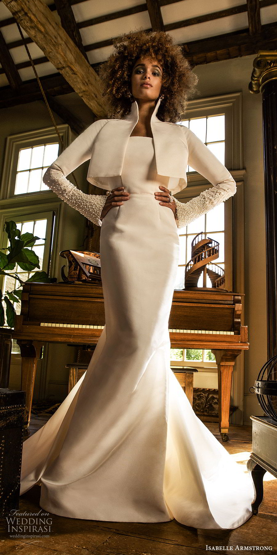 isabelle armstrong fall 2019 bridal long sleeves jacket high collar mermaid wedding dress (4) clean modern chic mv