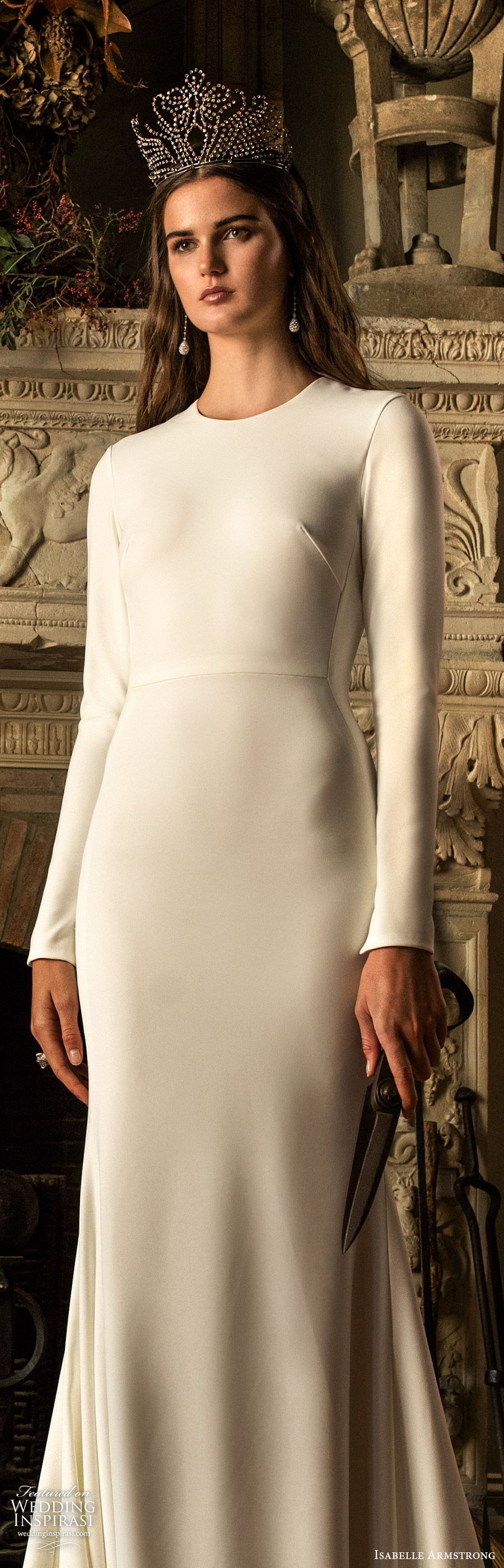 isabelle armstrong fall 2019 bridal long sleeves jewel neckline fit flare sheath wedding dress (9) elegant timeless clean simple chapel train lv