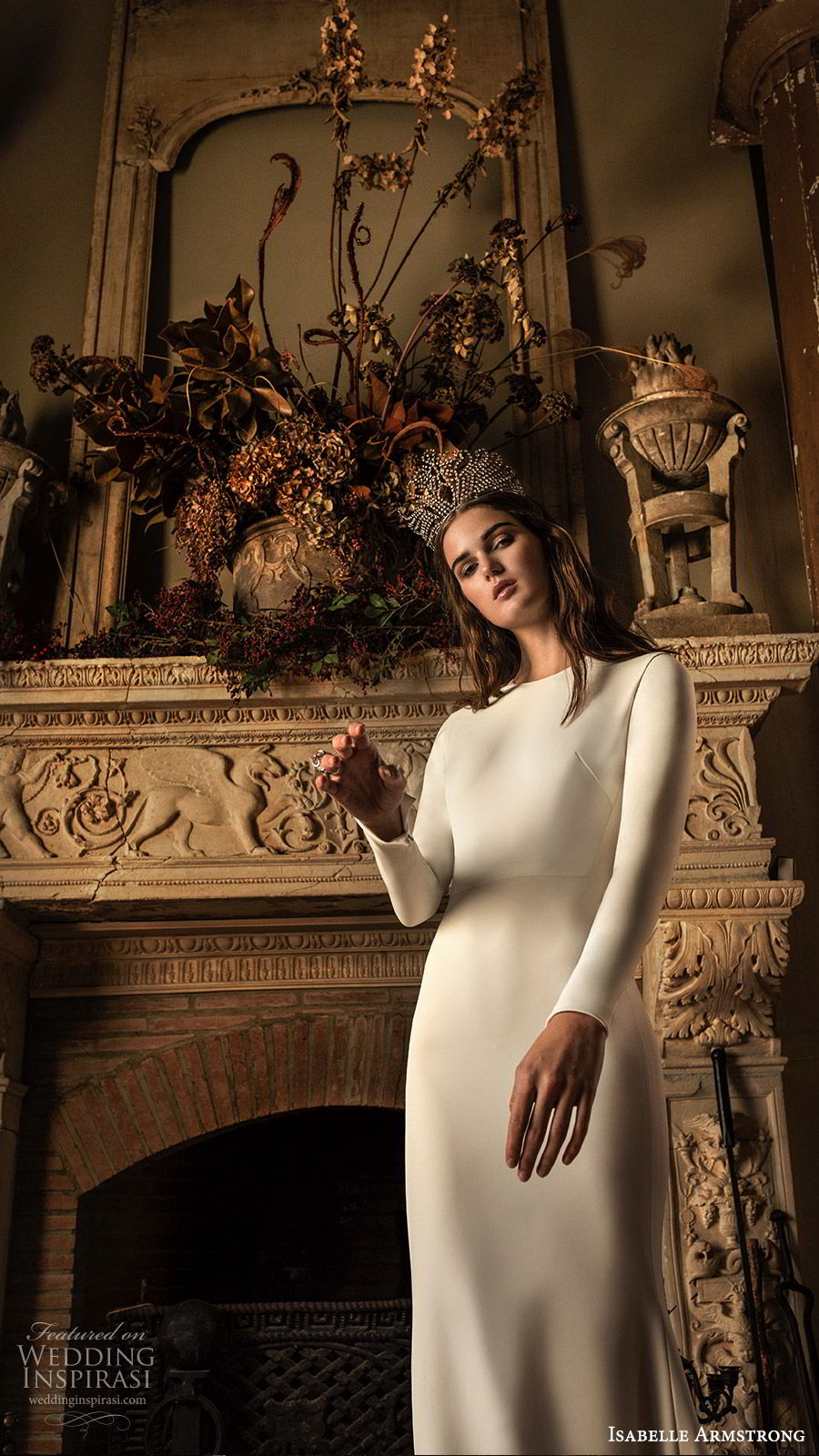 isabelle armstrong fall 2019 bridal long sleeves jewel neckline fit flare sheath wedding dress (9) elegant timeless clean simple chapel train mv