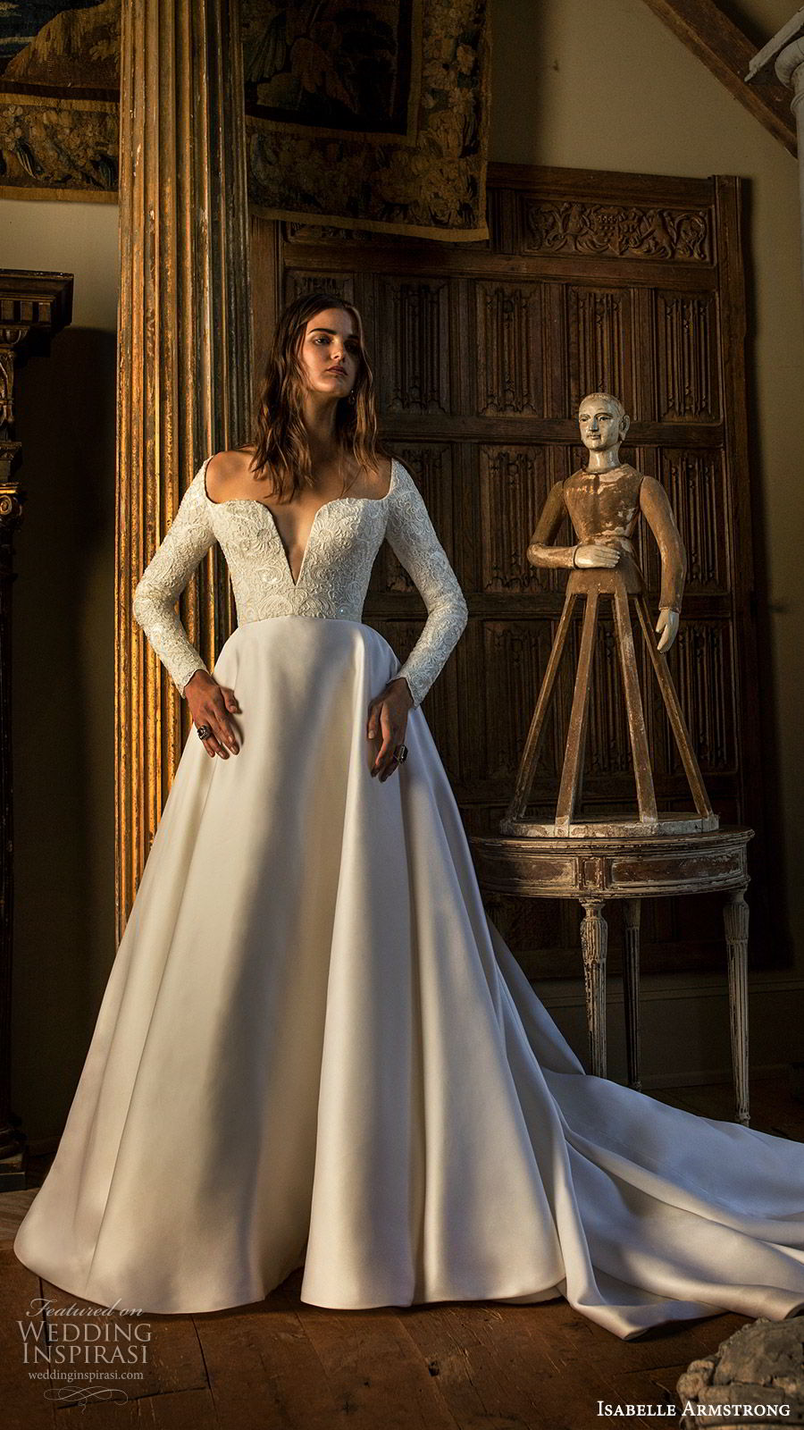 isabelle armstrong fall 2019 bridal long sleeves split square neckline embellished bodice a line ball gown wedding dress (2) romantic modern mv