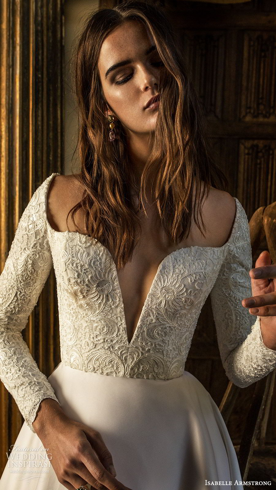 isabelle armstrong fall 2019 bridal long sleeves split square neckline embellished bodice a line ball gown wedding dress (2) romantic modern zv