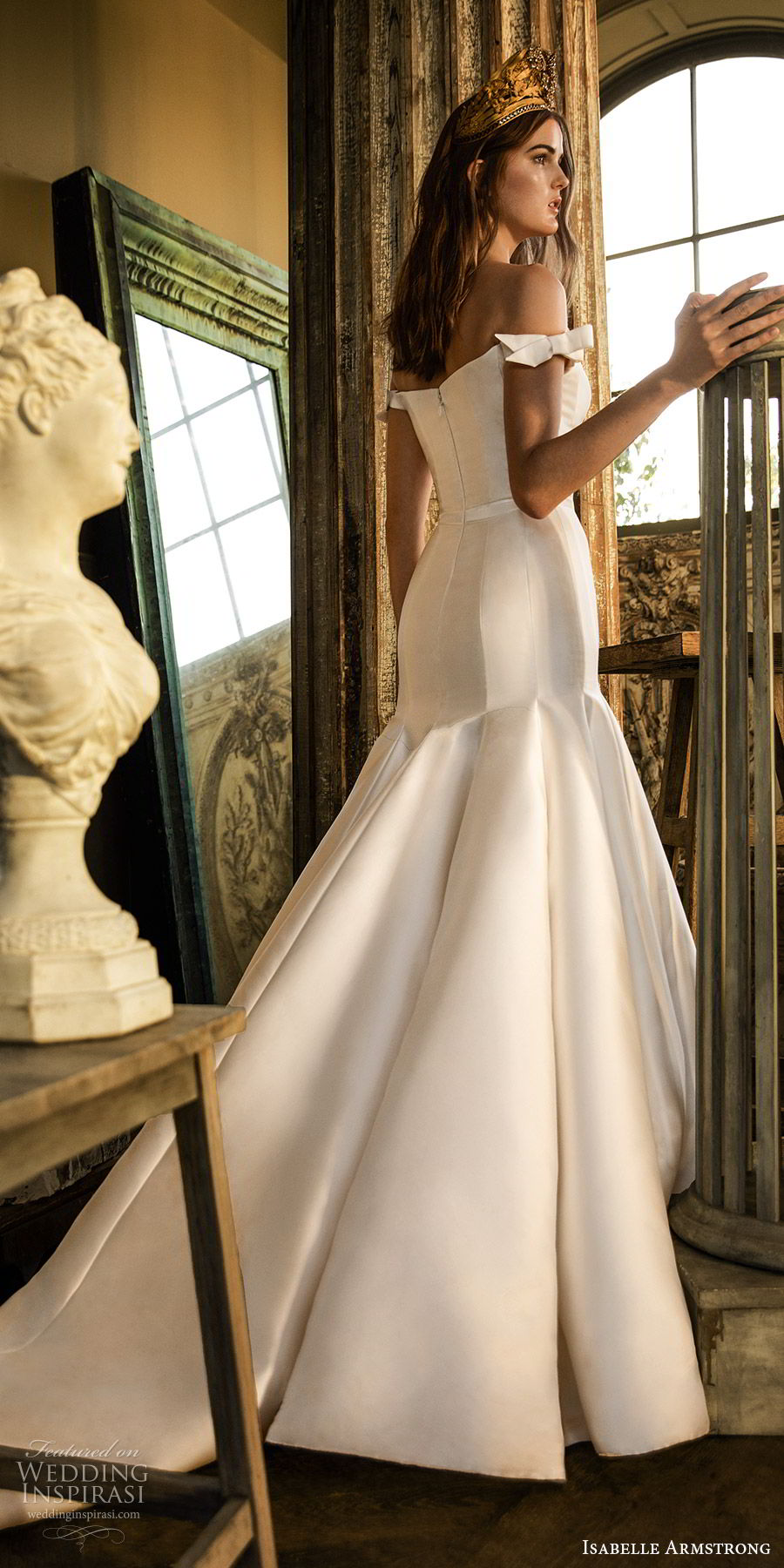 isabelle armstrong fall 2019 bridal off shoulder semi sweetheart fit flare mermaid wedding dress (6) minimally embellished clean chapel train bv
