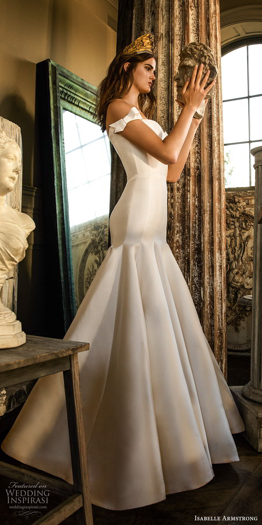 isabelle armstrong fall 2019 bridal off shoulder semi sweetheart fit flare mermaid wedding dress (6) minimally embellished clean chapel train mv