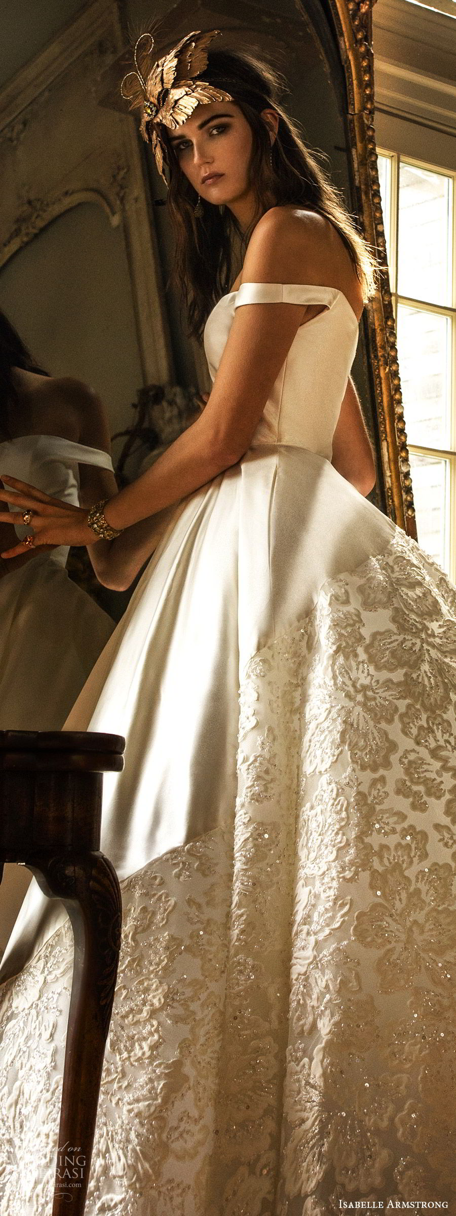 isabelle armstrong fall 2019 bridal off shoulder straps semi sweetheart neckline ball gown wedding dress lace skirt (3) romantic princess lv