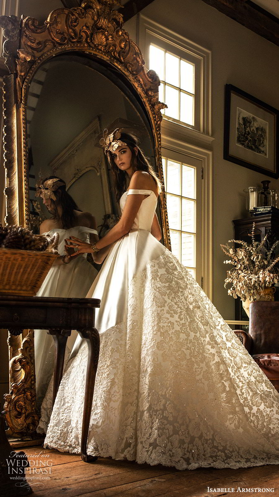 isabelle armstrong fall 2019 bridal off shoulder straps semi sweetheart neckline ball gown wedding dress lace skirt (3) romantic princess mv