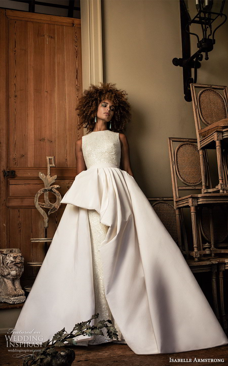 isabelle armstrong fall 2019 bridal sleeveless jewel neckline fully embellished fit flare sheath wedding dress ball gown overskirt (7) modern elegant mv