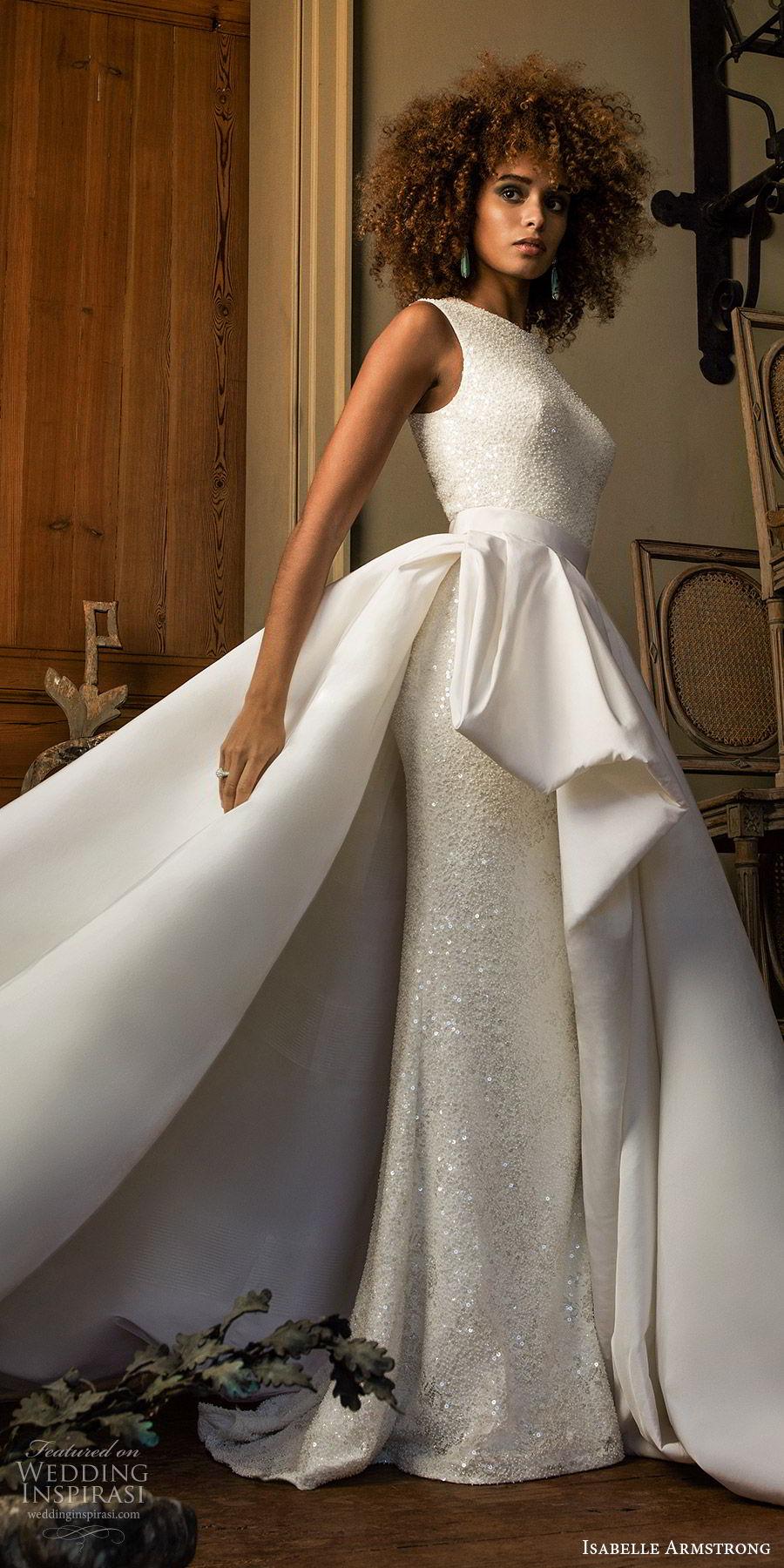 isabelle armstrong fall 2019 bridal sleeveless jewel neckline fully embellished fit flare sheath wedding dress ball gown overskirt (7) modern elegant sv