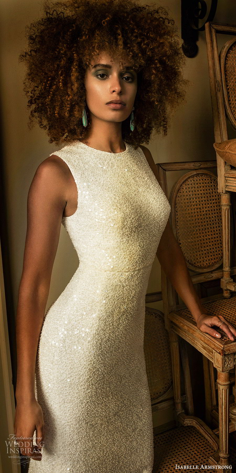 isabelle armstrong fall 2019 bridal sleeveless jewel neckline fully embellished fit flare sheath wedding dress ball gown overskirt (7) modern elegant zv