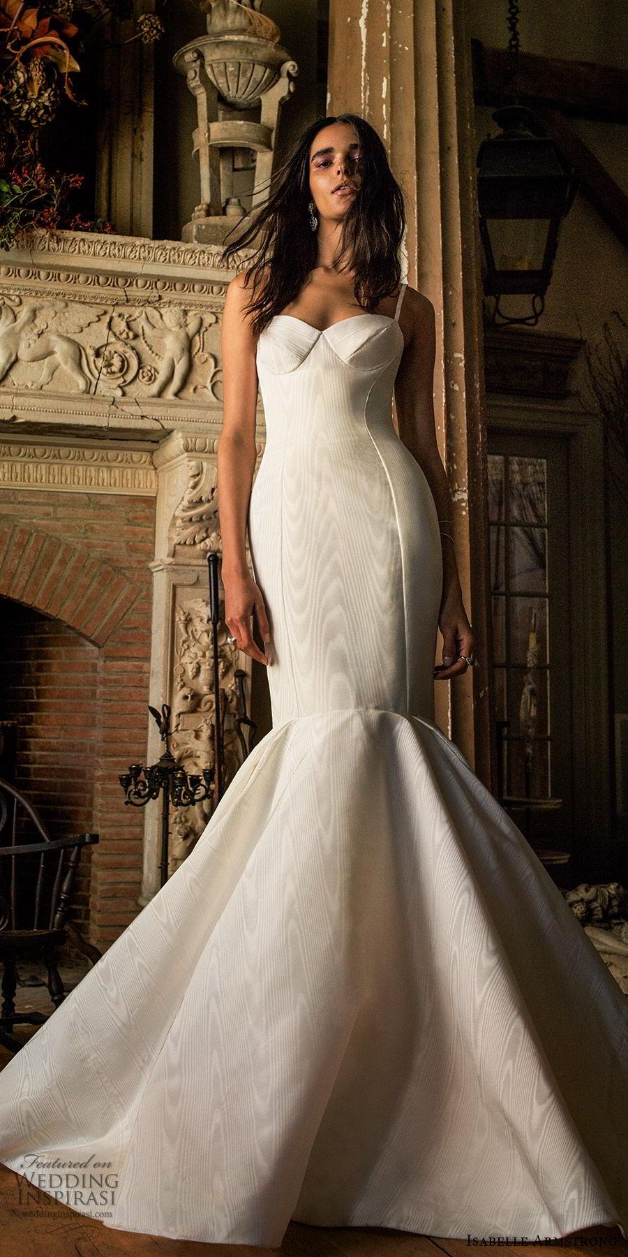 isabelle armstrong fall 2019 bridal sleeveless straps sweetheart minimally embellished mermaid wedding dress (10) chic elegant mv