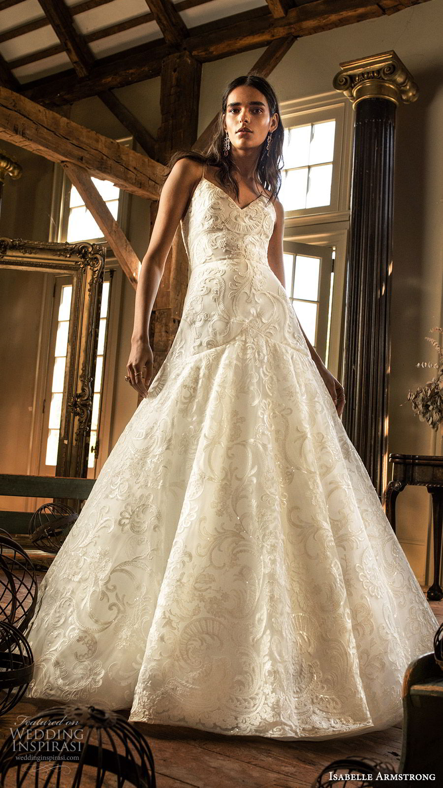isabelle armstrong fall 2019 bridal sleeveless thin straps vneck embroidered lace a line ball gown wedding dress (13) romantic mv