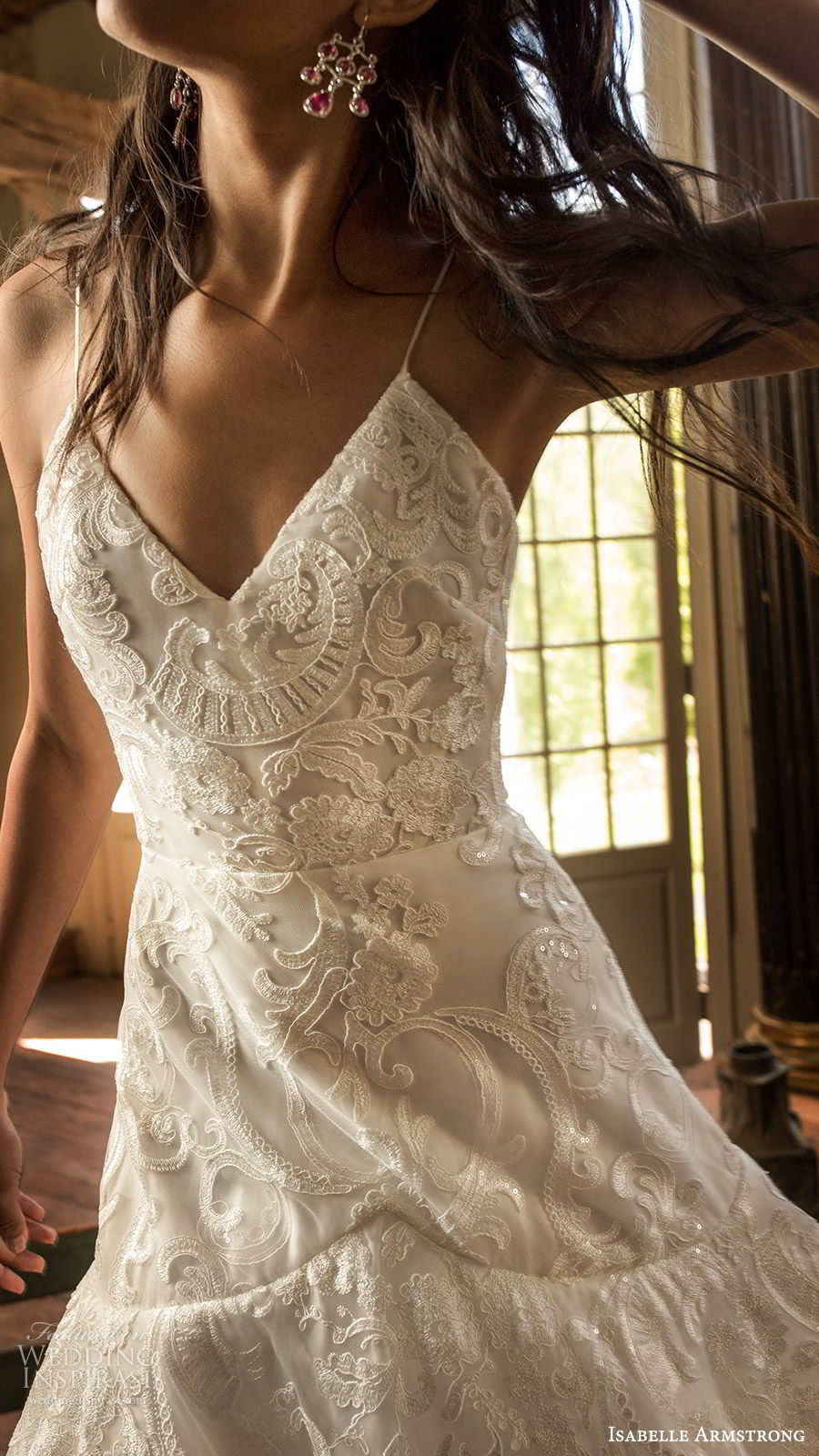 isabelle armstrong fall 2019 bridal sleeveless thin straps vneck embroidered lace a line ball gown wedding dress (13) romantic zv
