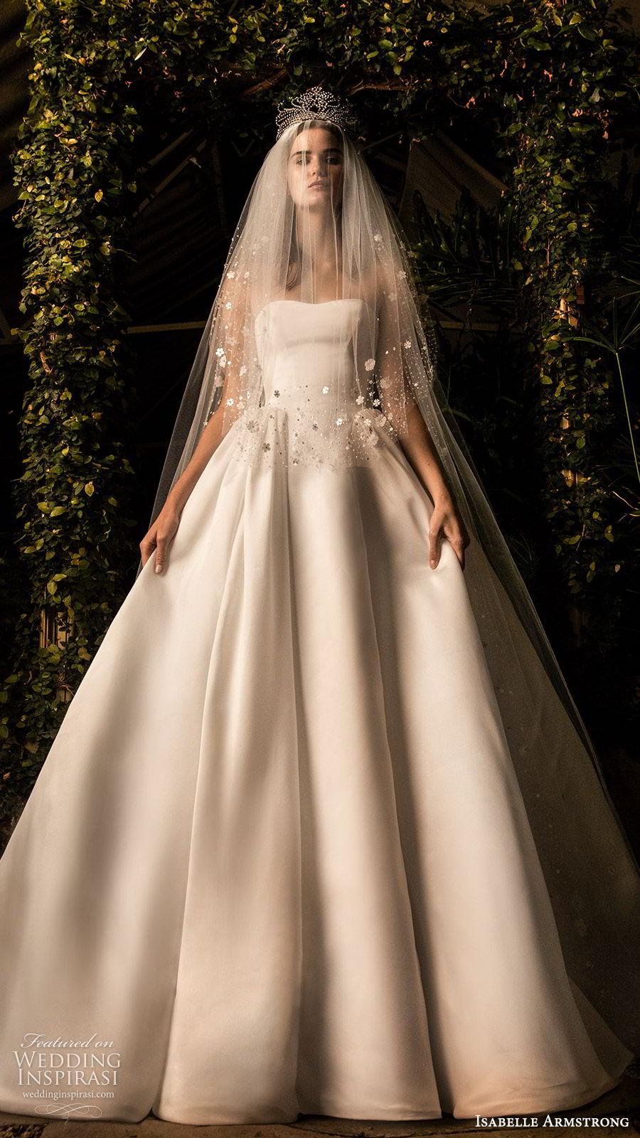 isabelle armstrong fall 2019 bridal strapless semi sweetheart ball gown wedding dress clean minimal (1) romantic timeless veil tiara mv