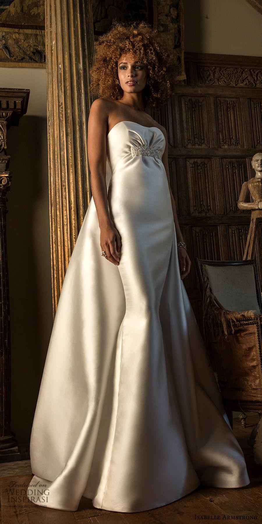 isabelle armstrong fall 2019 bridal strapless semi sweetheart ruched bodice embellished empire waist sheath wedding dress (11) elegant watteau train mv