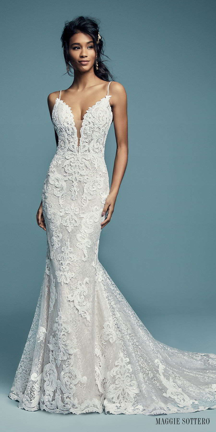 d3f1f569ce maggie sottero fall 2018 bridal sleeveless thin straps sweetheart heavily  embellished fit flare mermaid lace wedding