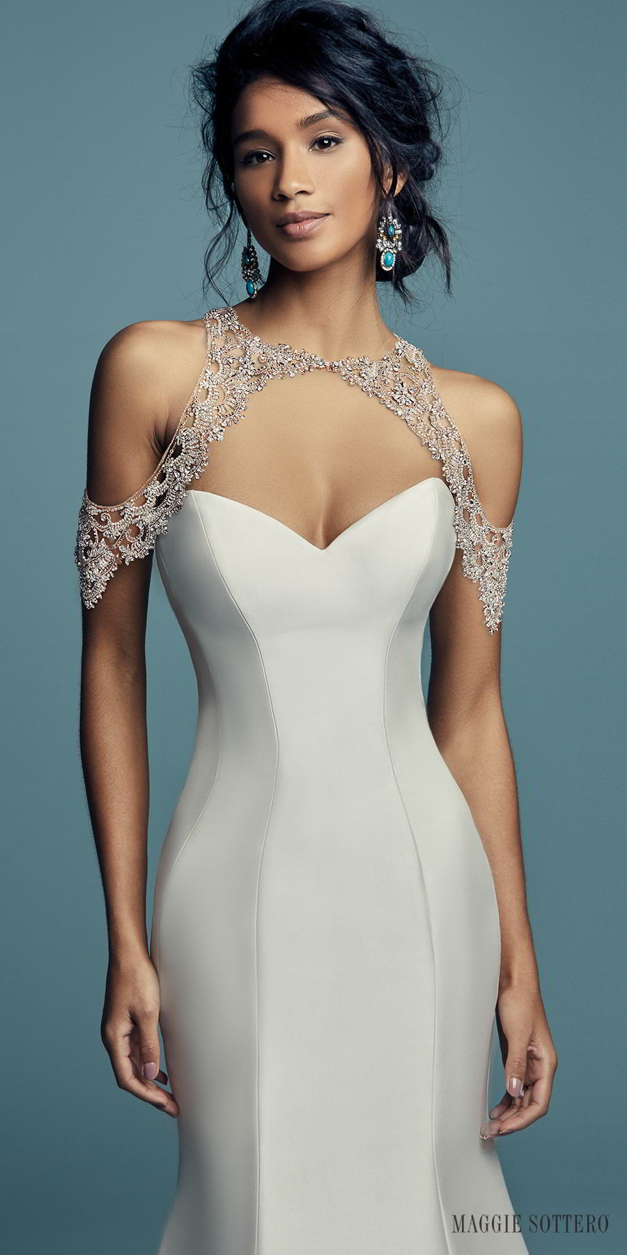 8054e8c11f0 maggie sottero fall 2018 bridal strapless sweetheart embellished waist fit  flate mermaid wedding dress (cassidy