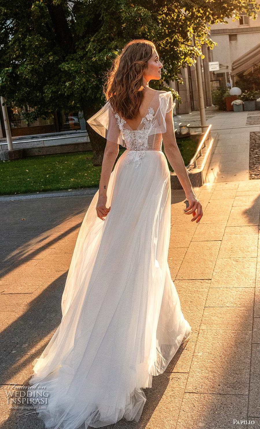 papilio 2019 bridal butterfly sleeves illusion bateau v neck heavily embellished bodice soft a  line wedding dress v back chapel train (9) bv