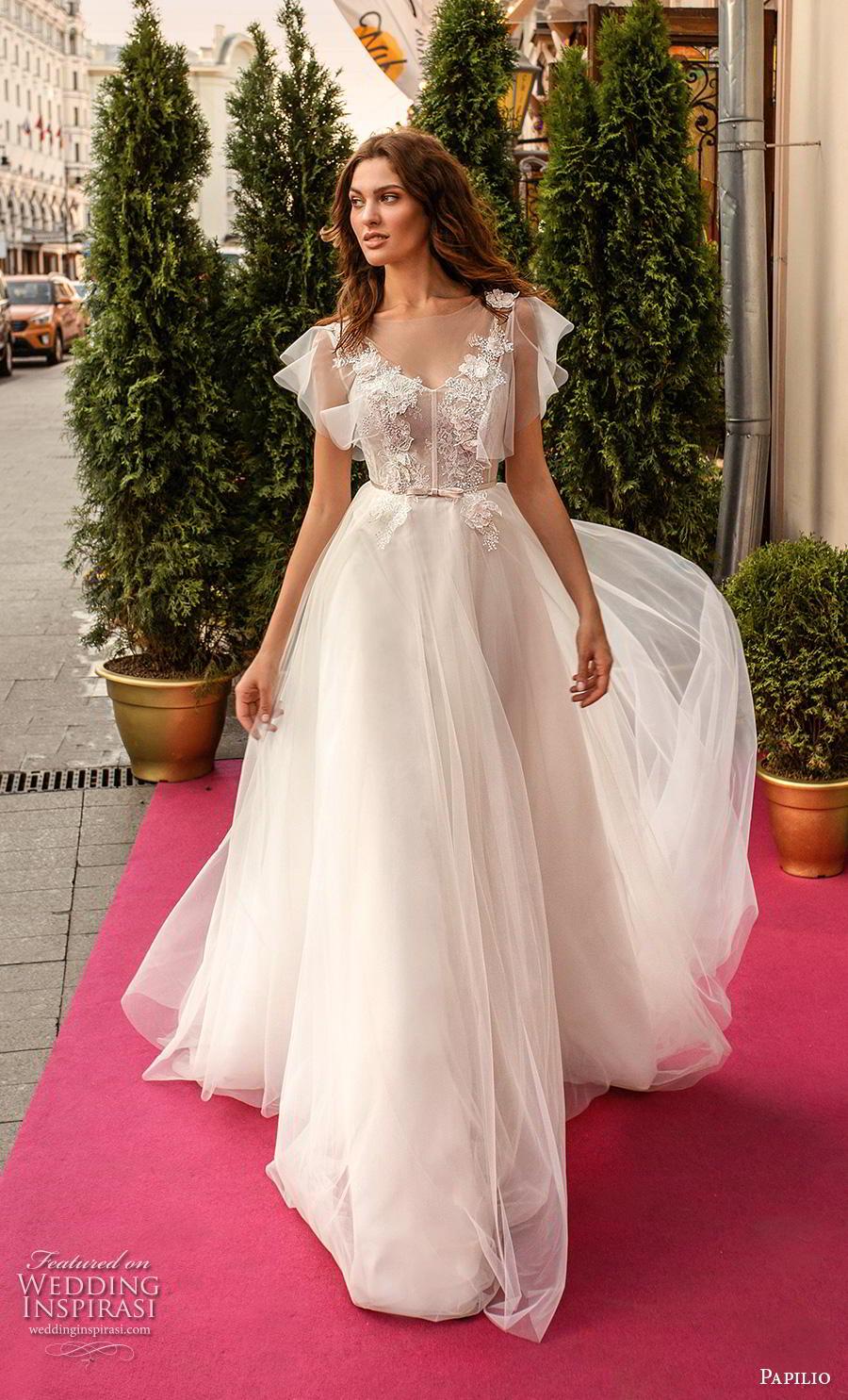 papilio 2019 bridal butterfly sleeves illusion bateau v neck heavily embellished bodice soft a  line wedding dress v back chapel train (9) mv