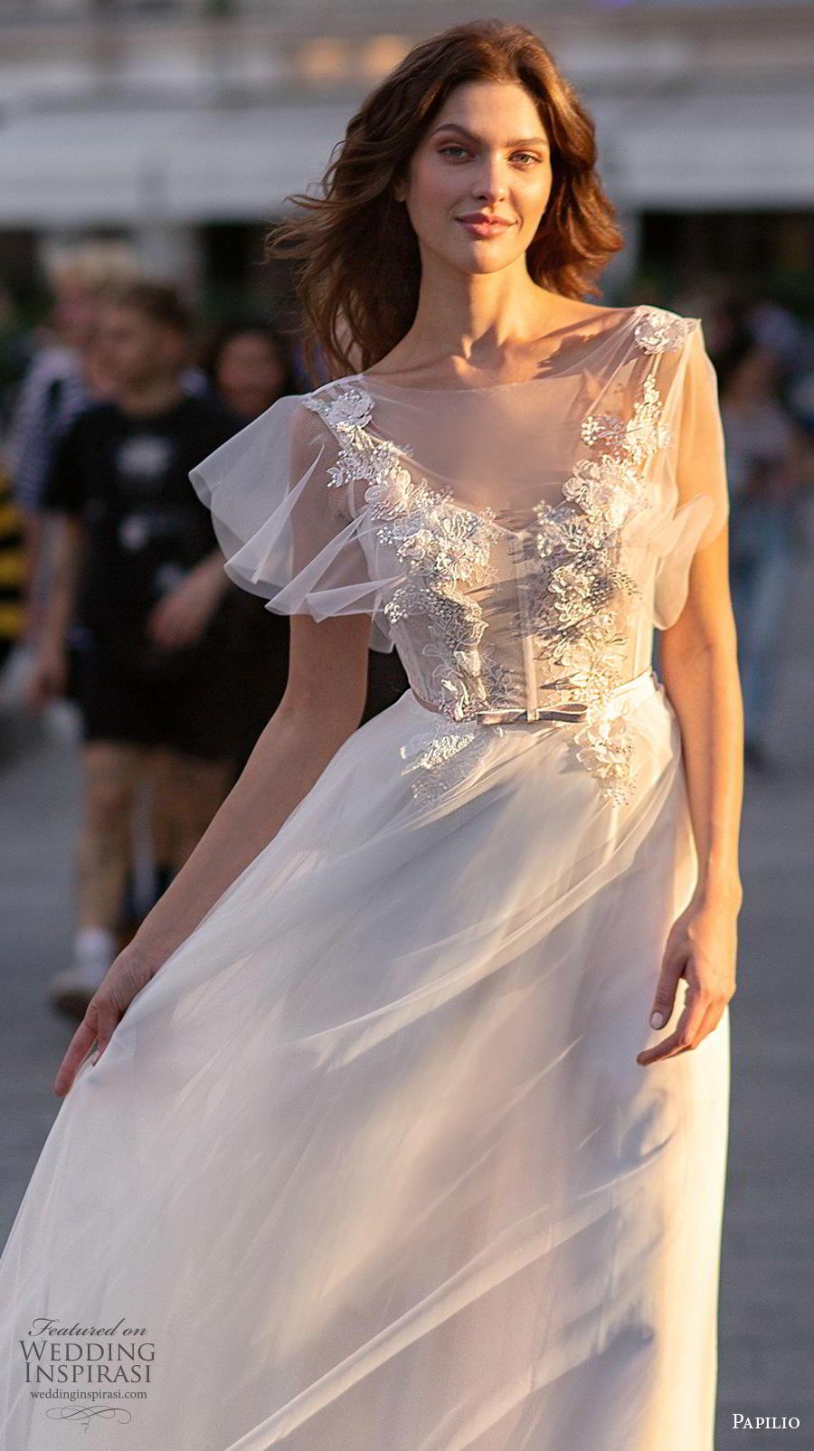 papilio 2019 bridal butterfly sleeves illusion bateau v neck heavily embellished bodice soft a  line wedding dress v back chapel train (9) zv