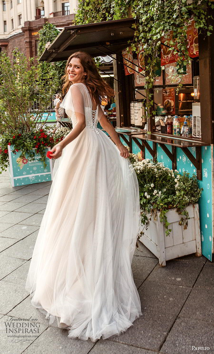 papilio 2019 bridal butterfly sleeves illusion jewel sweetheart neckline heavily embellished bodice romantic soft a  line wedding dress corset back sweep train (5) bv