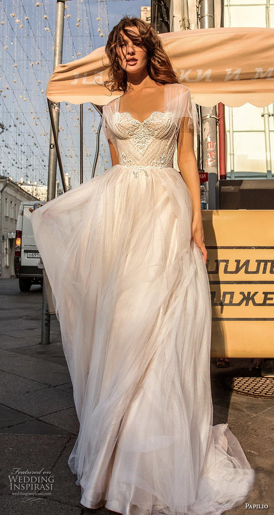 papilio 2019 bridal butterfly sleeves illusion jewel sweetheart neckline heavily embellished bodice romantic soft a  line wedding dress corset back sweep train (5) lv