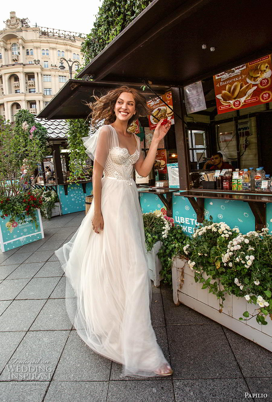papilio 2019 bridal butterfly sleeves illusion jewel sweetheart neckline heavily embellished bodice romantic soft a  line wedding dress corset back sweep train (5) mv