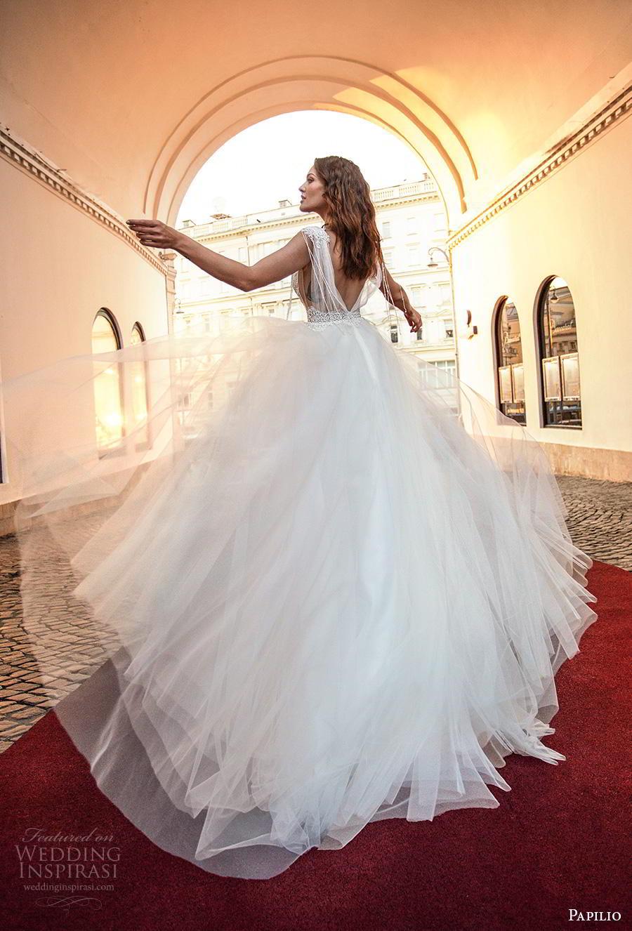 papilio 2019 bridal fringle cap sleeves illusion bateau deep v neck heavily embellished bodice romantic soft a  line wedding dress low v back chapel train (4) bv