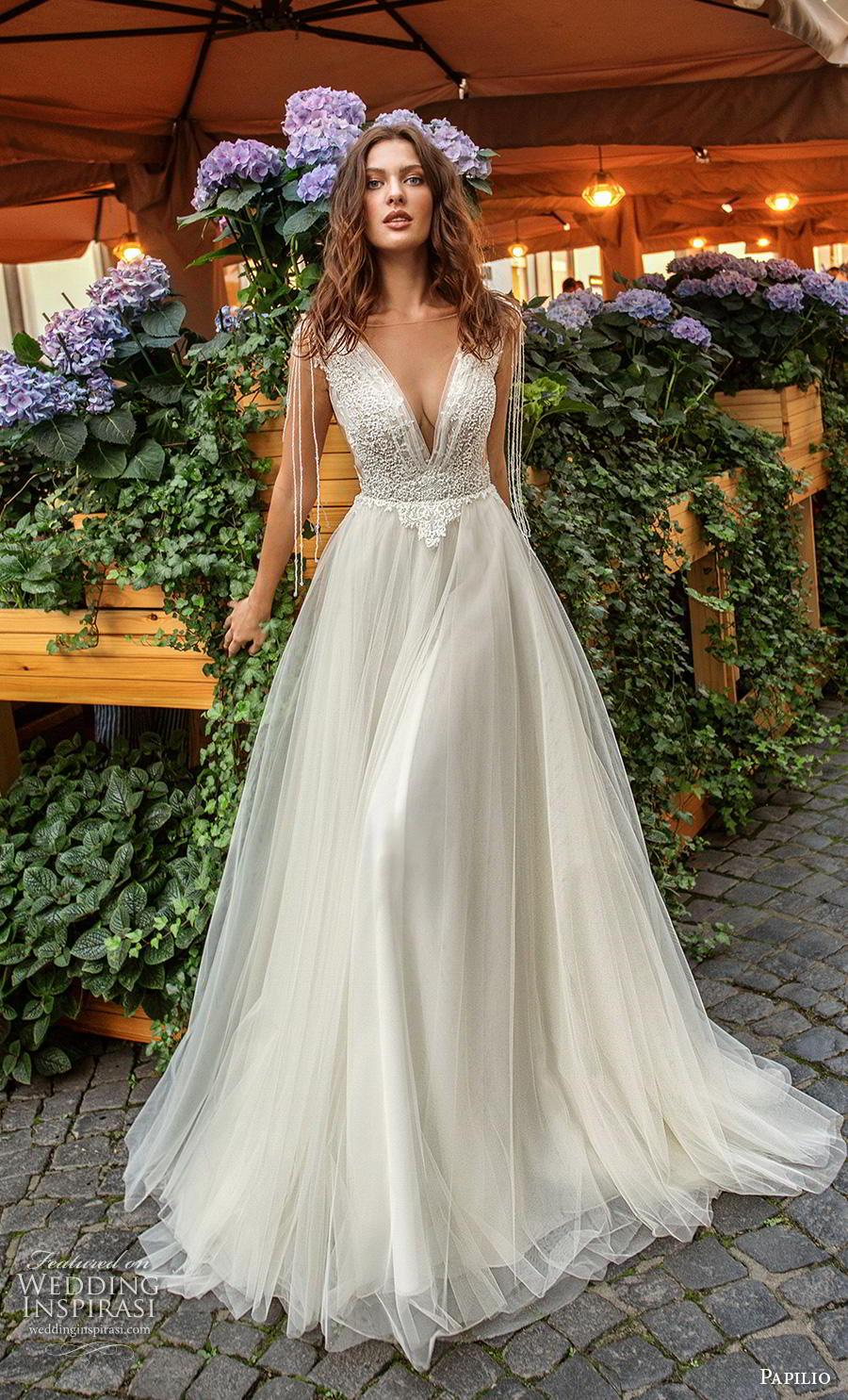 papilio 2019 bridal fringle cap sleeves illusion bateau deep v neck heavily embellished bodice romantic soft a  line wedding dress low v back chapel train (4) mv